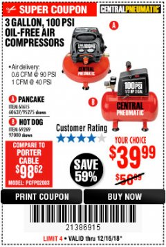 Harbor Freight Coupon 3 GALLON, 100 PSI OILLESS AIR COMPRESSORS Lot No. 69269/97080/60637/61615/95275 Expired: 12/16/18 - $39.99