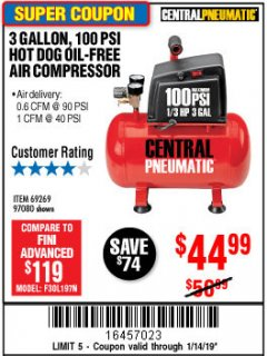 Harbor Freight Coupon 3 GALLON, 100 PSI OILLESS AIR COMPRESSORS Lot No. 69269/97080/60637/61615/95275 Expired: 1/14/19 - $44.99