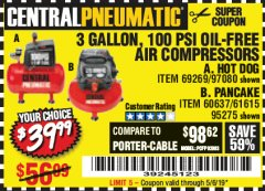Harbor Freight Coupon 3 GALLON, 100 PSI OILLESS AIR COMPRESSORS Lot No. 69269/97080/60637/61615/95275 Expired: 5/6/19 - $39.99