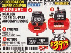 Harbor Freight Coupon 3 GALLON, 100 PSI OILLESS AIR COMPRESSORS Lot No. 69269/97080/60637/61615/95275 Expired: 5/31/19 - $39.99