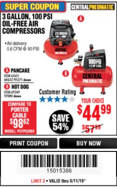 Harbor Freight Coupon 3 GALLON, 100 PSI OILLESS AIR COMPRESSORS Lot No. 69269/97080/60637/61615/95275 Expired: 6/11/19 - $44.99