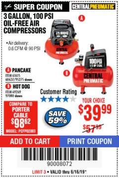 Harbor Freight Coupon 3 GALLON, 100 PSI OILLESS AIR COMPRESSORS Lot No. 69269/97080/60637/61615/95275 Expired: 6/16/19 - $39.99
