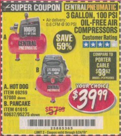 Harbor Freight Coupon 3 GALLON, 100 PSI OILLESS AIR COMPRESSORS Lot No. 69269/97080/60637/61615/95275 Expired: 8/24/19 - $39.99
