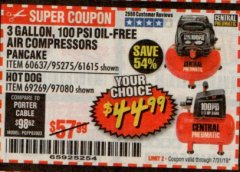 Harbor Freight Coupon 3 GALLON, 100 PSI OILLESS AIR COMPRESSORS Lot No. 69269/97080/60637/61615/95275 Expired: 7/31/19 - $44.99