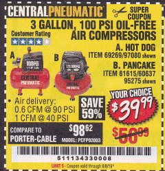Harbor Freight Coupon 3 GALLON, 100 PSI OILLESS AIR COMPRESSORS Lot No. 69269/97080/60637/61615/95275 Expired: 8/8/19 - $39.99