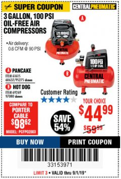 Harbor Freight Coupon 3 GALLON, 100 PSI OILLESS AIR COMPRESSORS Lot No. 69269/97080/60637/61615/95275 Expired: 9/1/19 - $44.99