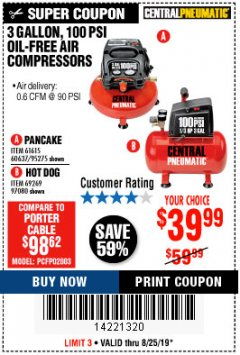 Harbor Freight Coupon 3 GALLON, 100 PSI OILLESS AIR COMPRESSORS Lot No. 69269/97080/60637/61615/95275 Expired: 8/25/19 - $39.99
