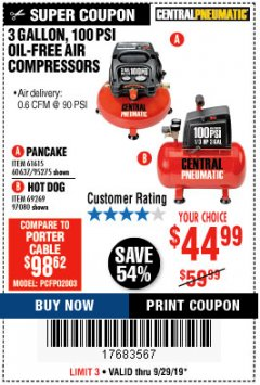 Harbor Freight Coupon 3 GALLON, 100 PSI OILLESS AIR COMPRESSORS Lot No. 69269/97080/60637/61615/95275 Expired: 9/29/19 - $44.99
