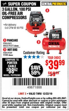 Harbor Freight Coupon 3 GALLON, 100 PSI OILLESS AIR COMPRESSORS Lot No. 69269/97080/60637/61615/95275 Expired: 12/22/19 - $39.99