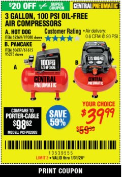 Harbor Freight Coupon 3 GALLON, 100 PSI OILLESS AIR COMPRESSORS Lot No. 69269/97080/60637/61615/95275 Expired: 1/31/20 - $39.99