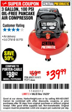 Harbor Freight Coupon 3 GALLON, 100 PSI OILLESS AIR COMPRESSORS Lot No. 69269/97080/60637/61615/95275 Expired: 1/6/20 - $39.99