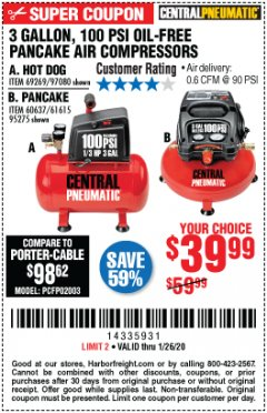 Harbor Freight Coupon 3 GALLON, 100 PSI OILLESS AIR COMPRESSORS Lot No. 69269/97080/60637/61615/95275 Expired: 1/26/20 - $39.99