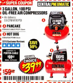 Harbor Freight Coupon 3 GALLON, 100 PSI OILLESS AIR COMPRESSORS Lot No. 69269/97080/60637/61615/95275 Expired: 3/31/20 - $39.99