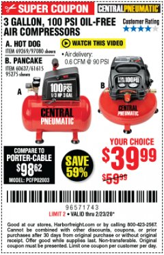 Harbor Freight Coupon 3 GALLON, 100 PSI OILLESS AIR COMPRESSORS Lot No. 69269/97080/60637/61615/95275 Expired: 2/23/20 - $39.99