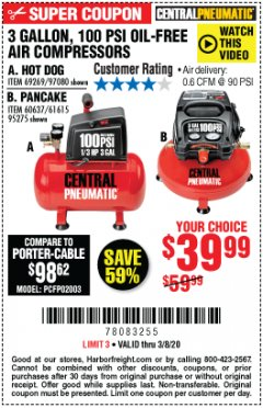 Harbor Freight Coupon 3 GALLON, 100 PSI OILLESS AIR COMPRESSORS Lot No. 69269/97080/60637/61615/95275 Expired: 3/8/20 - $39.99