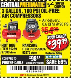 Harbor Freight Coupon 3 GALLON, 100 PSI OILLESS AIR COMPRESSORS Lot No. 69269/97080/60637/61615/95275 Expired: 6/21/20 - $39.99