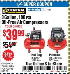 Harbor Freight Coupon 3 GALLON, 100 PSI OILLESS AIR COMPRESSORS Lot No. 69269/97080/60637/61615/95275 Valid Thru: 9/6/20 - $39.99