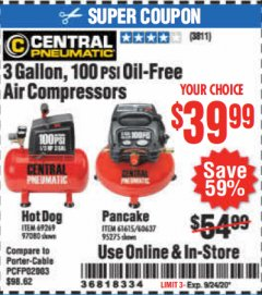 Harbor Freight Coupon 3 GALLON, 100 PSI OILLESS AIR COMPRESSORS Lot No. 69269/97080/60637/61615/95275 Valid: 8/11/20 - 9/24/20 - $39.99