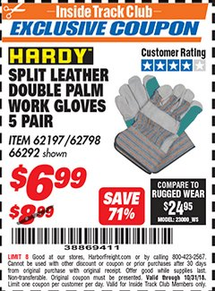 Harbor Freight ITC Coupon SPLIT LEATHER DOUBLE PALM WORK GLOVES - 5 PAIR Lot No. 66292/62197/62798 Expired: 10/31/18 - $6.99