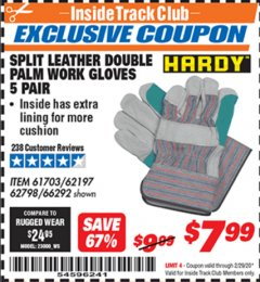 Harbor Freight ITC Coupon SPLIT LEATHER DOUBLE PALM WORK GLOVES - 5 PAIR Lot No. 66292/62197/62798 Expired: 2/29/20 - $7.99