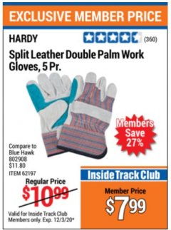 Harbor Freight ITC Coupon SPLIT LEATHER DOUBLE PALM WORK GLOVES - 5 PAIR Lot No. 66292/62197/62798 Valid Thru: 12/3/20 - $7.99