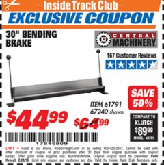 "Harbor Freight ITC Coupon 30"" BENDING BRAKE Lot No. 61791/67240 Expired: 2/28/19 - $44.99"