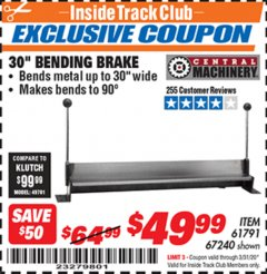 "Harbor Freight ITC Coupon 30"" BENDING BRAKE Lot No. 61791/67240 Expired: 3/31/20 - $49.99"
