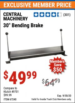 "Harbor Freight ITC Coupon 30"" BENDING BRAKE Lot No. 61791/67240 Expired: 9/30/20 - $49.99"