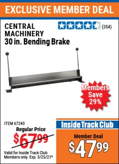 "Harbor Freight ITC Coupon 30"" BENDING BRAKE Lot No. 61791/67240 Valid: 2/26/21 - 3/25/21 - $47.99"