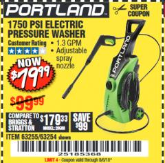 Harbor Freight Coupon 1750 PSI ELECTRIC PRESSURE WASHER Lot No. 63254/63255 Expired: 8/6/18 - $79.99