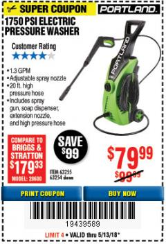 Harbor Freight Coupon 1750 PSI ELECTRIC PRESSURE WASHER Lot No. 63254/63255 Expired: 5/13/18 - $79.99
