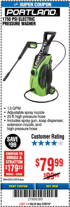 Harbor Freight Coupon 1750 PSI ELECTRIC PRESSURE WASHER Lot No. 63254/63255 Expired: 5/20/18 - $79.99