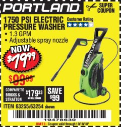 Harbor Freight Coupon 1750 PSI ELECTRIC PRESSURE WASHER Lot No. 63254/63255 Expired: 10/18/18 - $79.99