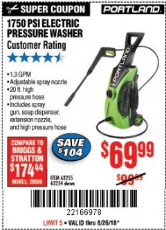 Harbor Freight Coupon 1750 PSI ELECTRIC PRESSURE WASHER Lot No. 63254/63255 Expired: 8/26/18 - $69.99