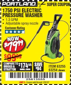 Harbor Freight Coupon 1750 PSI ELECTRIC PRESSURE WASHER Lot No. 63254/63255 Expired: 1/1/19 - $79.99