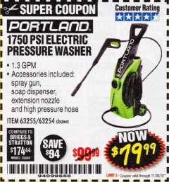 Harbor Freight Coupon 1750 PSI ELECTRIC PRESSURE WASHER Lot No. 63254/63255 Expired: 11/30/18 - $79.99