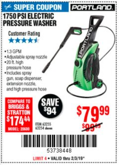Harbor Freight Coupon 1750 PSI ELECTRIC PRESSURE WASHER Lot No. 63254/63255 Expired: 2/3/19 - $79.99