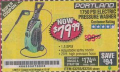 Harbor Freight Coupon 1750 PSI ELECTRIC PRESSURE WASHER Lot No. 63254/63255 Expired: 4/13/19 - $79.99