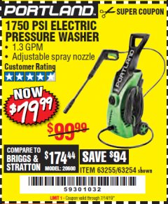 Harbor Freight Coupon 1750 PSI ELECTRIC PRESSURE WASHER Lot No. 63254/63255 Expired: 7/14/19 - $79.99