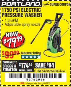 Harbor Freight Coupon 1750 PSI ELECTRIC PRESSURE WASHER Lot No. 63254/63255 Expired: 8/11/19 - $79.99