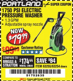 Harbor Freight Coupon 1750 PSI ELECTRIC PRESSURE WASHER Lot No. 63254/63255 Expired: 7/19/19 - $79.99