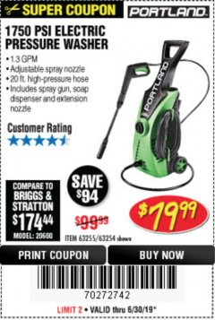Harbor Freight Coupon 1750 PSI ELECTRIC PRESSURE WASHER Lot No. 63254/63255 Expired: 6/30/19 - $79.99