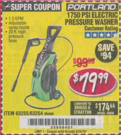 Harbor Freight Coupon 1750 PSI ELECTRIC PRESSURE WASHER Lot No. 63254/63255 Expired: 8/24/19 - $79.99