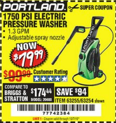 Harbor Freight Coupon 1750 PSI ELECTRIC PRESSURE WASHER Lot No. 63254/63255 Expired: 10/1/19 - $79.99