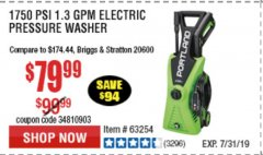 Harbor Freight Coupon 1750 PSI ELECTRIC PRESSURE WASHER Lot No. 63254/63255 Expired: 7/7/19 - $79.99