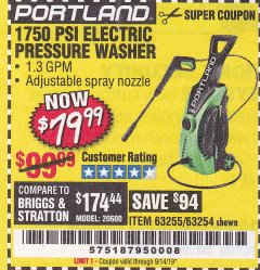 Harbor Freight Coupon 1750 PSI ELECTRIC PRESSURE WASHER Lot No. 63254/63255 Expired: 9/14/19 - $79.99