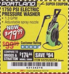 Harbor Freight Coupon 1750 PSI ELECTRIC PRESSURE WASHER Lot No. 63254/63255 Expired: 10/17/19 - $79.99