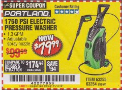 Harbor Freight Coupon 1750 PSI ELECTRIC PRESSURE WASHER Lot No. 63254/63255 Expired: 11/14/19 - $79.99