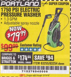 Harbor Freight Coupon 1750 PSI ELECTRIC PRESSURE WASHER Lot No. 63254/63255 Expired: 12/31/19 - $79.99