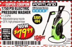 Harbor Freight Coupon 1750 PSI ELECTRIC PRESSURE WASHER Lot No. 63254/63255 Expired: 8/31/19 - $79.99